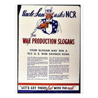 Uncle Sam frågar Ncr för krigproduktionslogan Reklamblad