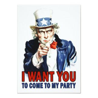 Uncle Sam - JAG ÖNSKAR DIG - partyinbjudan 12,7 X 17,8 Cm Inbjudningskort