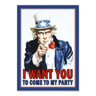 Uncle Sam - JAG ÖNSKAR DIG - partyinbjudan Personliga Tillkännagivanden