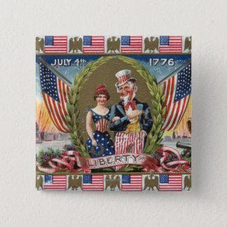 Uncle Sam och damfrihet Standard Kanpp Fyrkantig 5.1 Cm