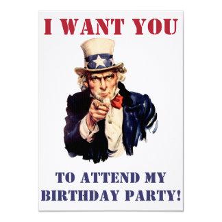 Uncle Sam önskar dig! 11,4 X 15,9 Cm Inbjudningskort