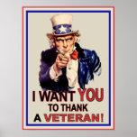 Uncle Sam önskar jag att du ska tacka en veteranaf Affisch