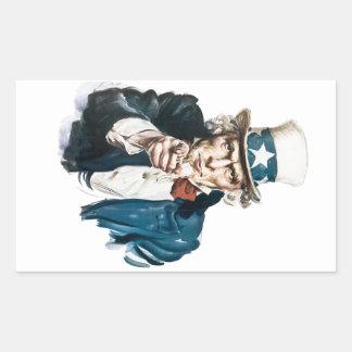Uncle Sam önskar jag dig skräddarsy med din text Rektangulärt Klistermärke