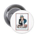 """Uncle Sam """"önskar jag DIG! """", Standard Knapp Rund 5.7 Cm"""