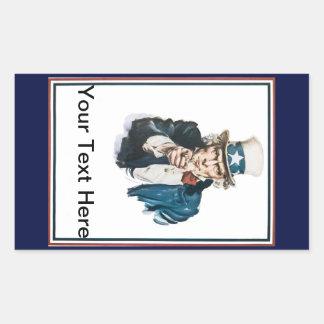 Uncle Sam önskar jag din text, här som du Rektangulärt Klistermärke