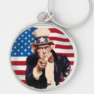 Uncle Sam Rund Silverfärgad Nyckelring