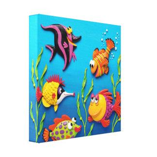 Under barnkammare för dusch för havsfiskpojke canvastryck