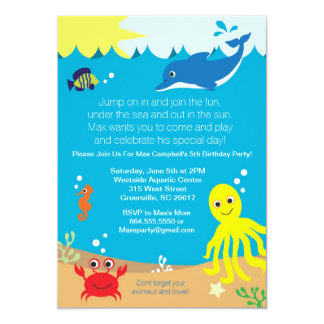 Under havsfödelsedagsfest inbjudan