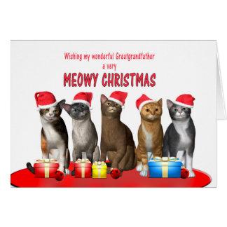 Underbar-farfar katter i julhattar hälsningskort