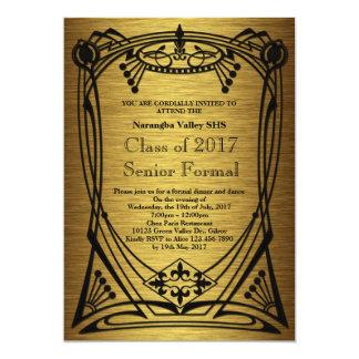 Underbar formell Gatsby studentbalpensionär 12,7 X 17,8 Cm Inbjudningskort
