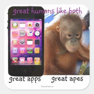 Underbar mobil Apps underbar apahumor Fyrkantigt Klistermärke