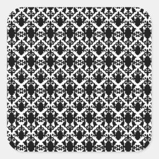 Underbar svartvit damast fyrkantigt klistermärke