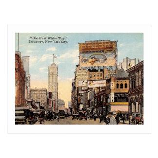 Underbar vit långt, Broadway, New York City Vykort