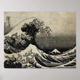 Underbaren vinkar av Kanagawa (神奈川沖浪裏) Poster