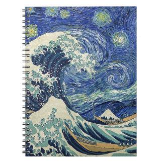 Underbaren vinkar av Kanagawa - den Starry natten Anteckningsbok