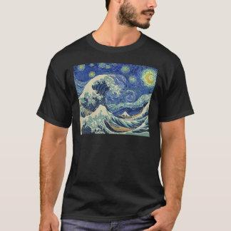 Underbaren vinkar av Kanagawa - den Starry natten Tröja