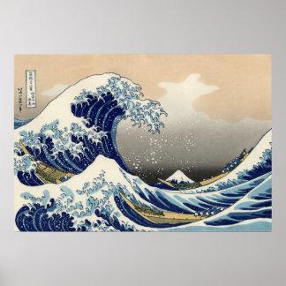 Underbaren vinkar av Kanagawa, Hokusai Poster