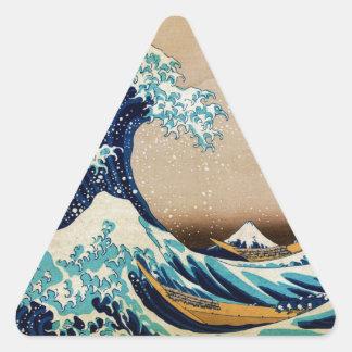 Underbaren vinkar vid Hokusai vintagejapan Triangelformat Klistermärke