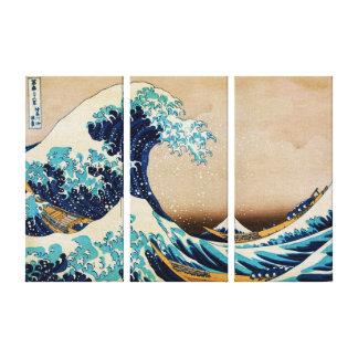 Underbaren vinkar vid panelen för den Hokusai Canvastryck