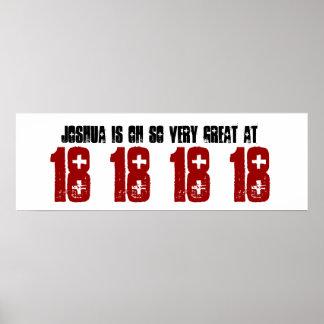 Underbart 18th namn för födelsedagsfestbaneranpass posters