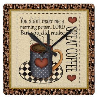 Underbart kaffe tar tid på fyrkantig klocka