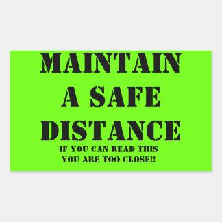 Underhåll en säker avståndsklistermärke rektangulärt klistermärke