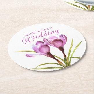 Underlägg för bröllop för krokusvattenfärgkonst