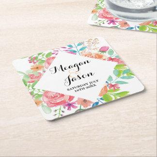 Underläggakvarellen blommar bröllopcocktail party underlägg papper kvadrat