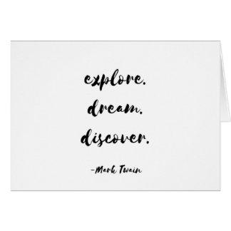 Undersök. Dröm. Upptäck. - Mark Twain Hälsningskort
