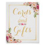Undertecknar blom- guld- rambröllop för kortet och poster
