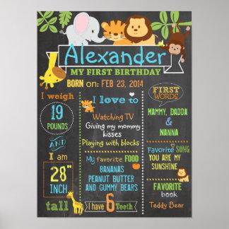 Undertecknar den första födelsedagen för poster