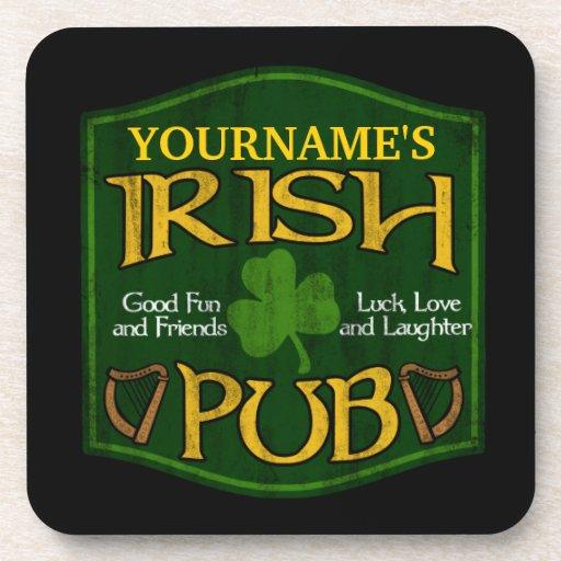 Undertecknar den irländska puben för personligen glas underlägg