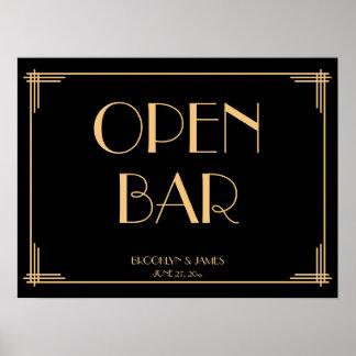 Undertecknar den öppna puben för svart art poster