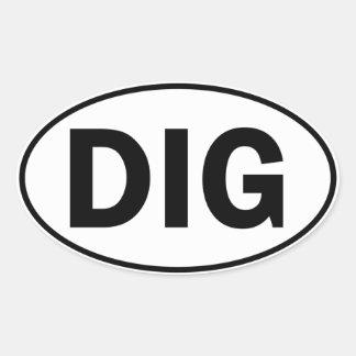 Undertecknar den ovala identiteten för PIKEN Ovalt Klistermärke