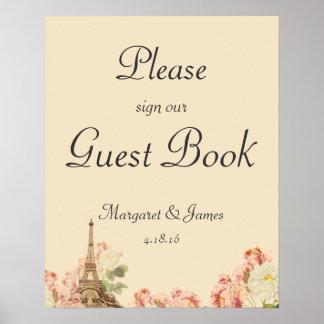 Undertecknar den romantiska guestbooken för Paris Poster