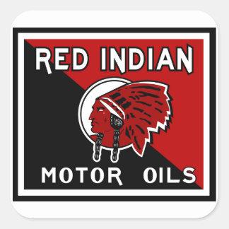 Undertecknar motorisk oljavintage för den röda ind fyrkantiga klistermärken
