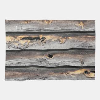 undertecknat av väder som gammal wood bakgrund kökshandduk