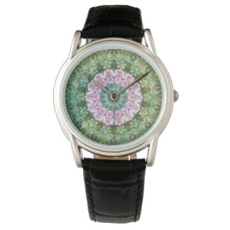 Undervattens- fantasiKaleidoscope, lila och grönt Armbandsur