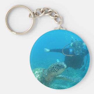 Undervattens- liv Keychain för Scuba Rund Nyckelring