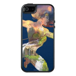 Undra Silhouette för kvinnasolnedgångvattenfall OtterBox iPhone 5/5s/SE Skal