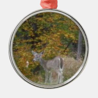 Ung Bambi hjort med nedgångtrees. Rund Silverfärgad Julgransprydnad