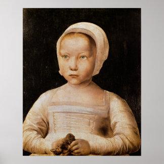 Ung flicka med en död fågel, c.1500-25 affischer