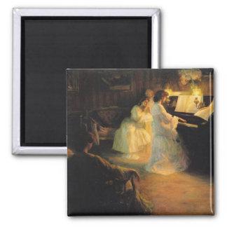 Ung flicka på ett piano, 1906 magnet