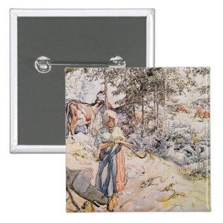 Ung flicka som väver, 1905 standard kanpp fyrkantig 5.1 cm