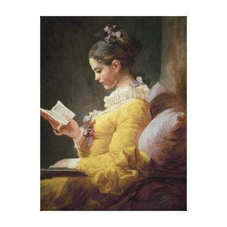 Ung flickaläsning, c.1776 canvastryck