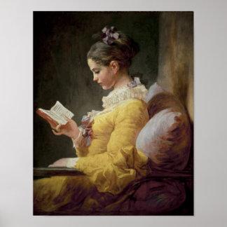 Ung flickaläsning, c.1776 poster