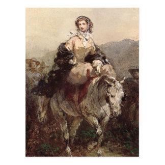 Ung kvinna på en häst vykort