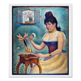 Ung kvinna som pudrar hon själv poster