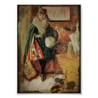 Ung kvinnahandelsresande för vintage print