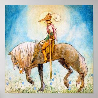 Ung Prince på en häst Posters